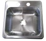 "15"" x 15"" x 5"" Stainless Steel Sink Single Bowl w/ Two Holes"