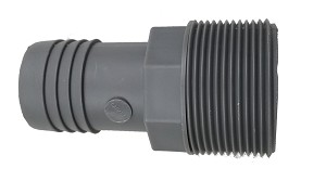 "1 1/2"" Plastic Hose Barb Fitting - Gray"