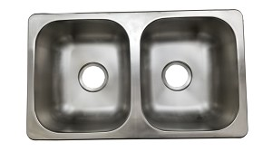 "27"" x 16"" Double Bowl Stainless Steel Sink"